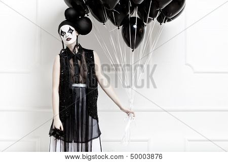 Mime stylized photo of a young beautiful woman