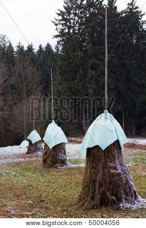A Row Of Haystacks