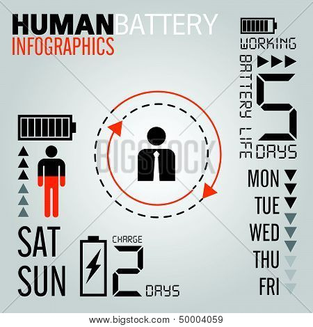 Infographics set. Human Battery Information Graphics