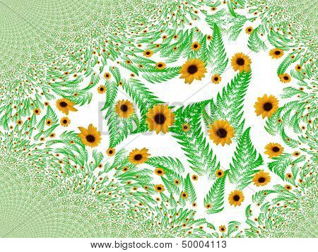 Fractal background with a sunflower
