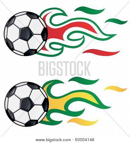 Soccer With  Flag Flame  Brasil Vs Italy