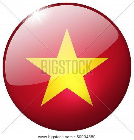 Vietnam Round Glass Button