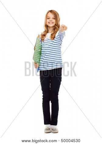 education and school concept - child holding colorful folders