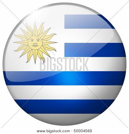 Uruguay Round Glass Button