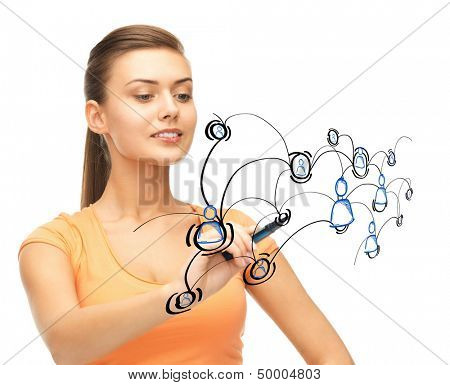 business, technology and networking concept - businesswoman with contact icons on virtual screen