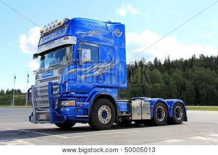 Blue Decorated Scania Truck On A Parking Lot