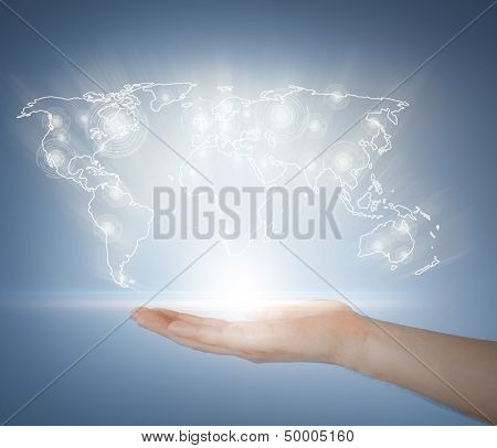 business, technology, internet and networking concept - woman hand with virtual screen