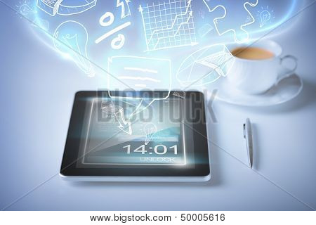 technology, internet and application concept - tablet pc with icons and cup of coffee