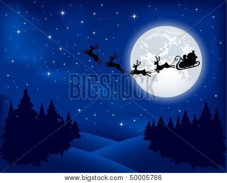 Santa's sleigh on Moon background