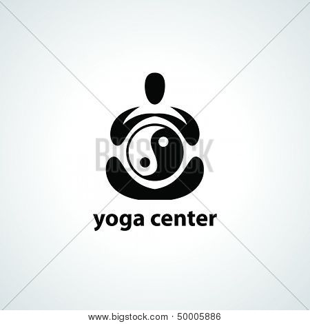 yoga center - vector symbol for design