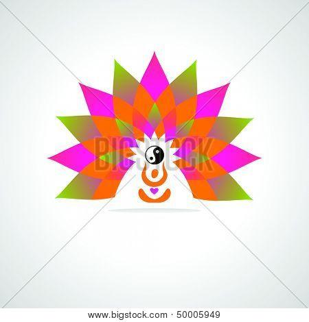yoga center - vector symbol for design
