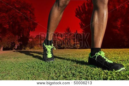 Close up of Runner's Legs and Shoes