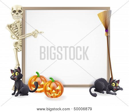 Halloween sign or banner with orange Halloween pumpkins and black witch's cats witch's broom stick and cartoon skeleton character poster