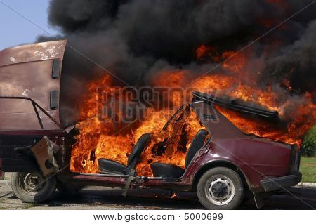 Exploded Parking Car On Fire