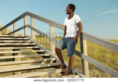 Attractive African American Male Smiling Outdoors