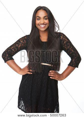 Beautiful Young Woman Smiling In Black Dress