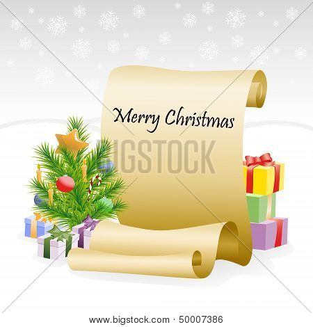Paper scroll for christmas congratulations