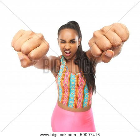 Portrait Of A Young Woman Punching With Two Hands
