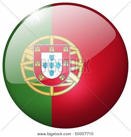 Portugal Round Glass Button
