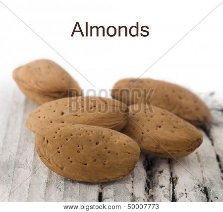 almonds with place for the text
