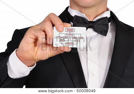 Man Holding Visiting Card