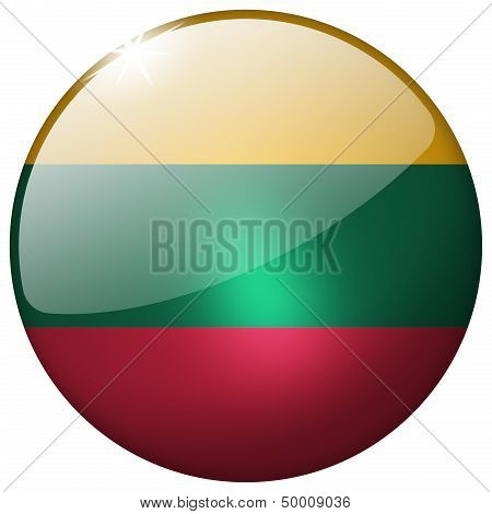 Lithuania Round Glass Button