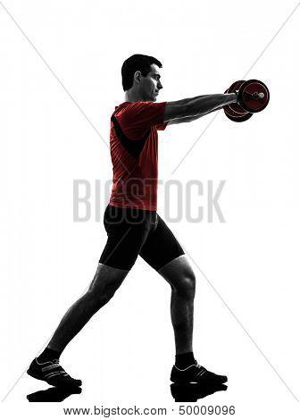 one caucasian man exercising weight training   on white background