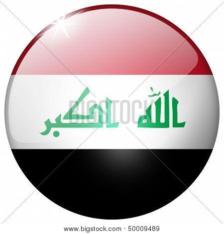 Iraq Round Glass Button