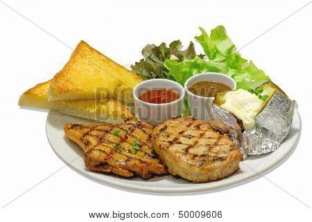 Steak BBQ Pork and Spicy Chicken with a baking potato
