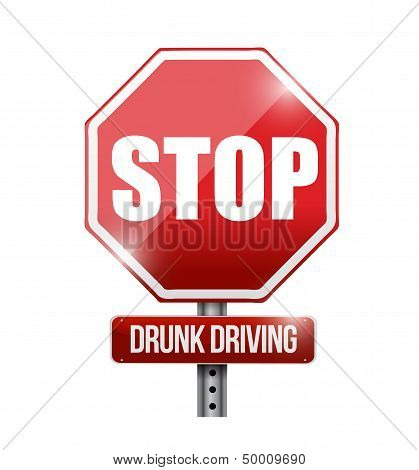 Stop Drunk Driving Road Sign Illustration