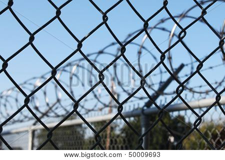 Barbwire and metal fence