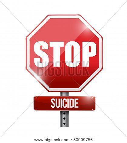 Stop Suicide Road Sign Illustration Design