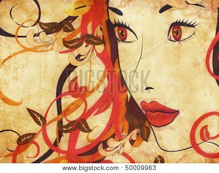 Beautiful Grunge Autumn Girl