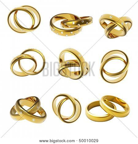 Gold Wedding Ring with diamond on white background. Holiday symbol