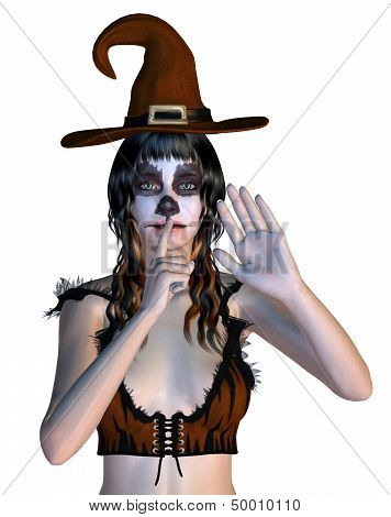 Witch With Gothic Make Up