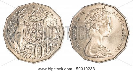 Half Australian Dollar Coin Isolated On White Background