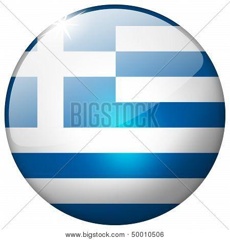 Greece Round Glass Button