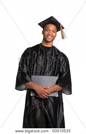 Young Happy African American Male Student Holding Graduation Certificate Happy Expression