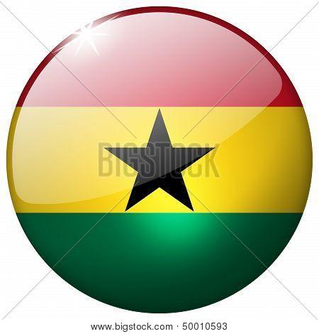 Ghana Round Glass Button
