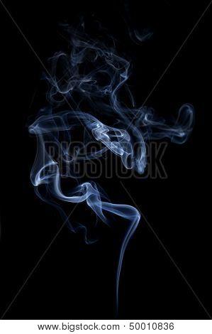 Blue Smoke Isolated On Black.