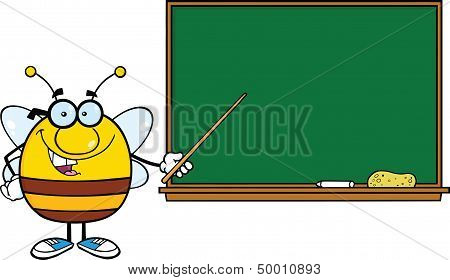 Pudgy Bee Cartoon Character With Glasses With A Pointer In Front Of Blackboard