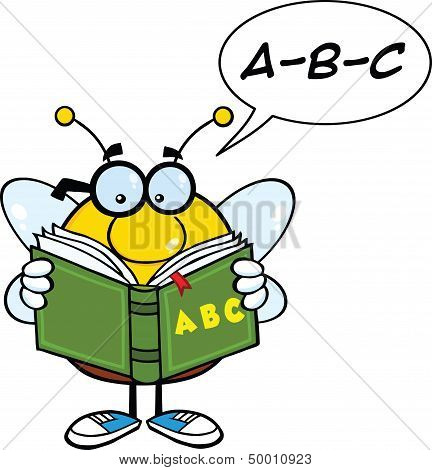 Pudgy Bee Cartoon Character Reading A ABC Book