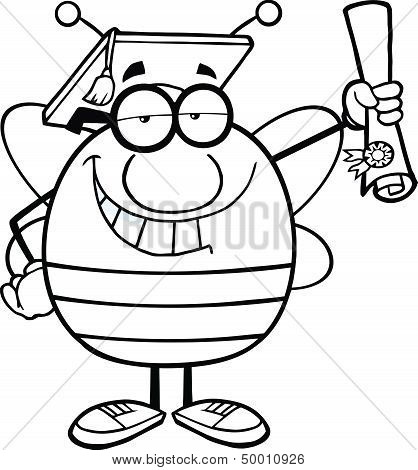 Black And White Pudgy Bee Cartoon Character Graduate Holding Up A Diploma