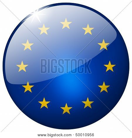 Eu Round Glass Button