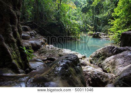 Erawan waterfall pond in Kanchanaburi national park Thailand