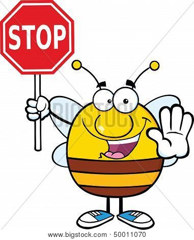 Pudgy Bee Holding A Stop Sign