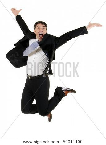 Agile stylish middle-aged businessman leaping in the air for joy isolated on white