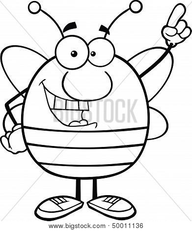 Black And White Pudgy Bee Character Pointing With Finger