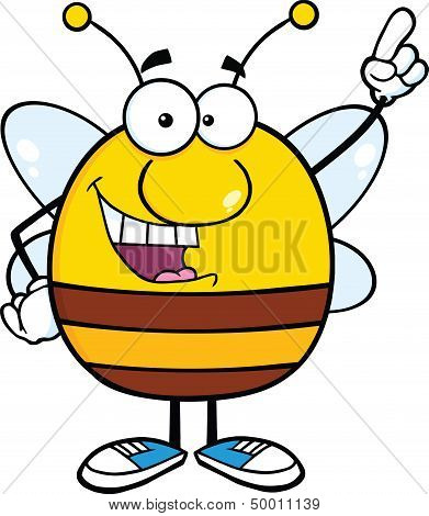Pudgy Bee Cartoon Character Pointing With Finger