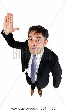 Strict businessman menacing with his hands isolated on white background